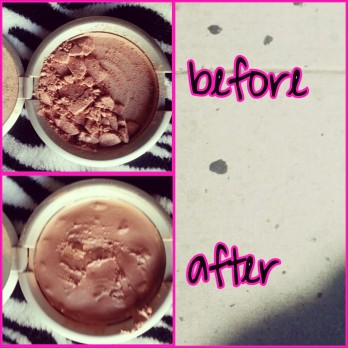 before and after broken pressed powder